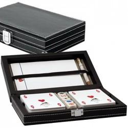 Set in pelle 2 Mazzi Poker Dadi Notes Matita