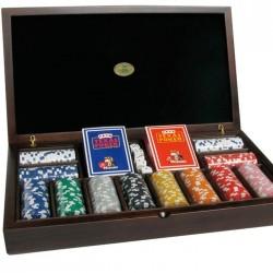 Set Poker in Legno 300 Fiches + 2 Mazzi di Carte + 5 Dadi -
