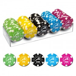 100 Chips 14g con valori medi 5 colori Texas Hold'em