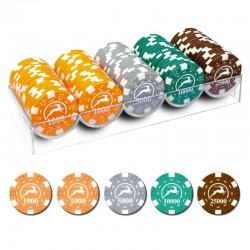 100 Chips 14g con valori alti 4 colori Texas Hold'em