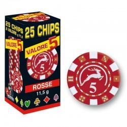 25 Chips 11,5g Rosso VALORE 5 Texas Hold'em