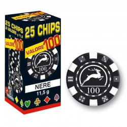 25 Chips 11,5g Nero VALORE 100 Texas Hold'em