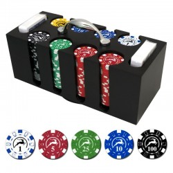 GETTONIERA in Legno 200 Chips 11,5g + 2mz Texas Texas Hold'em