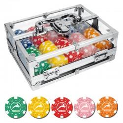 BOX ALLUMINIO TRASPARENTE 200 Chips 14g Texas Hold'em