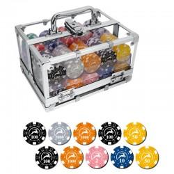 BOX ALLUMINIO TRASPARENTE 400 Chips 14g Texas Hold'em