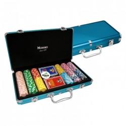 VALIGETTA 300 Chips Poker Alluminio blu (vuota)